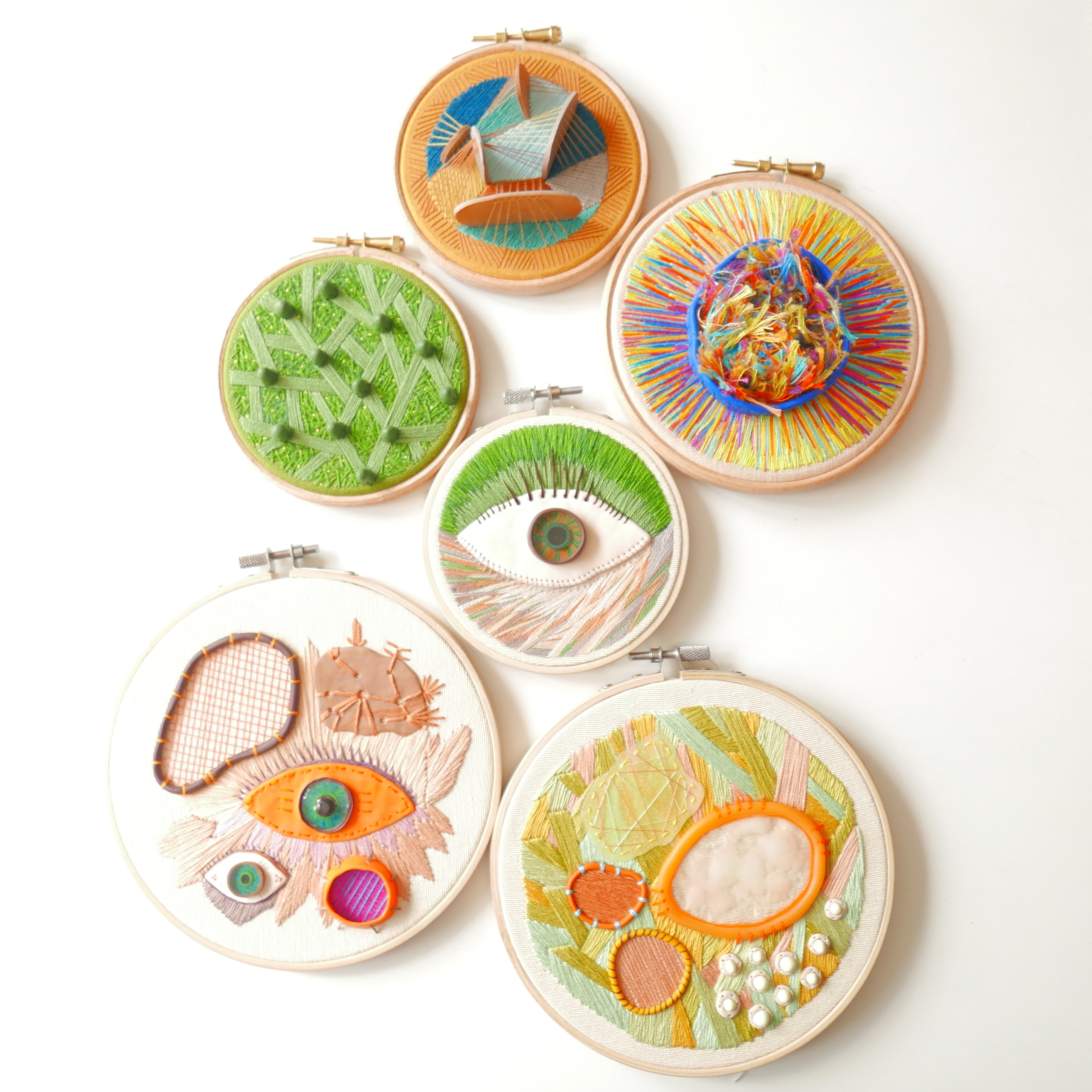 six beautiful hand embroidered hoops