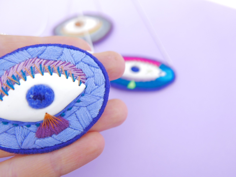 embroidered necklace eye