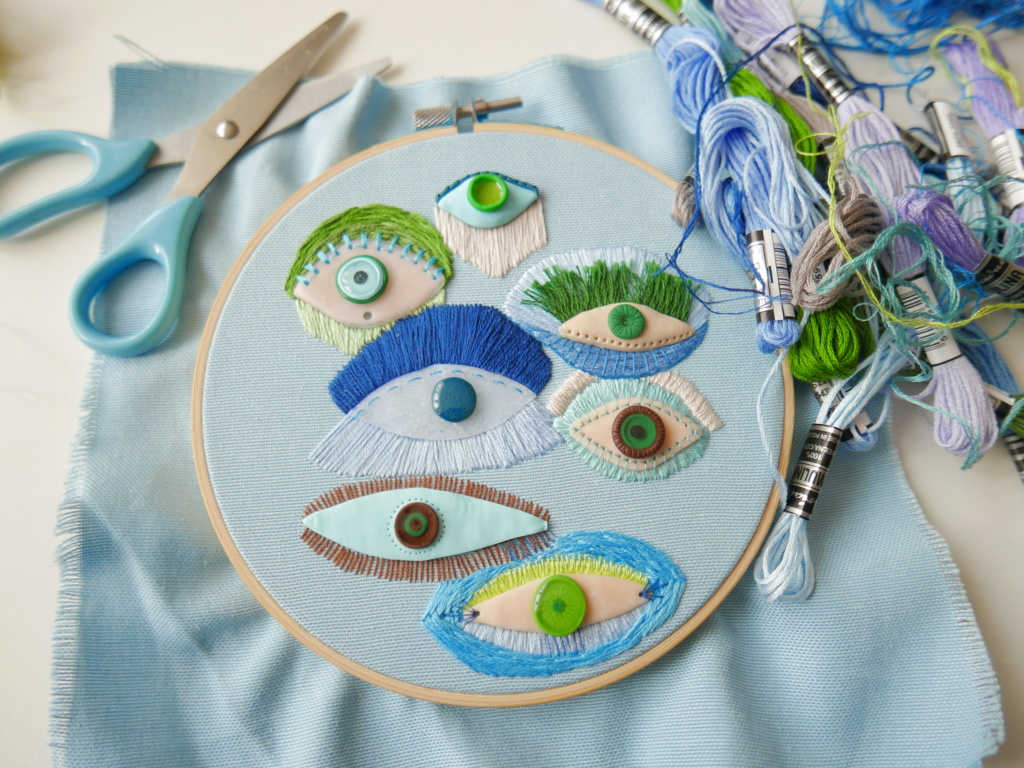 Hand embroidered hoop wit eyes