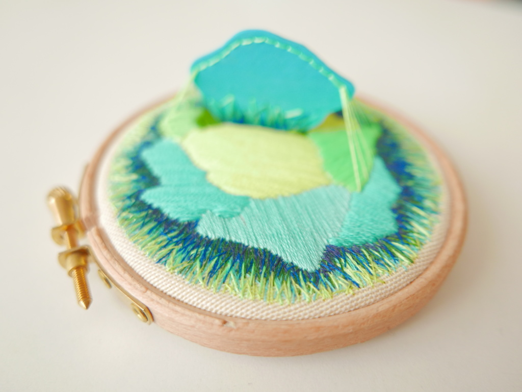 The piece where I explored a single polymer clay tile and the stitching options