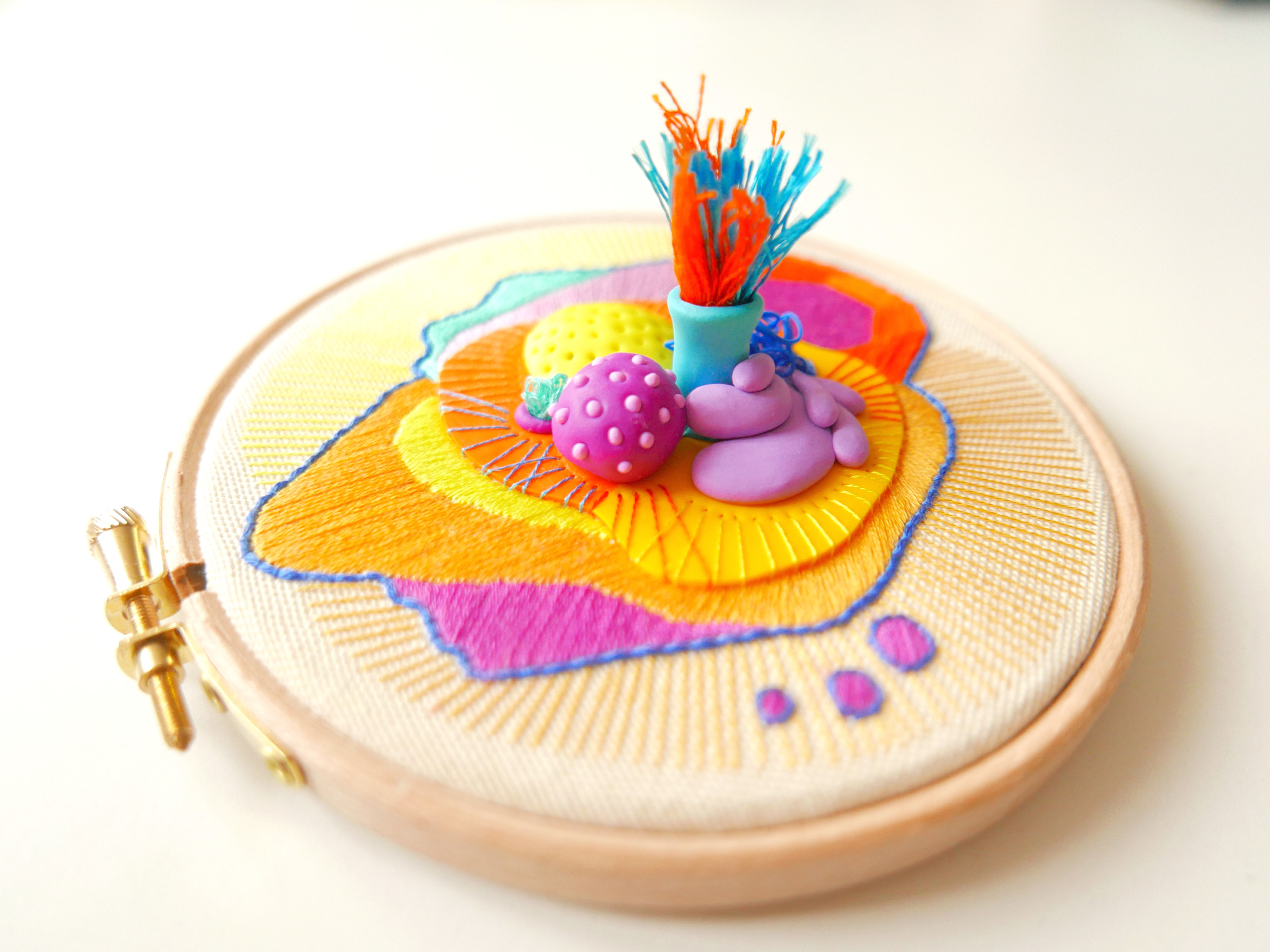 Modern embroidery hoop art