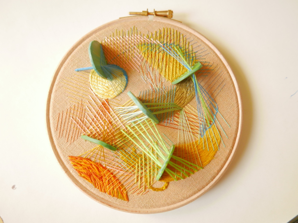 Hand embroidered 3D hoop stitched with love