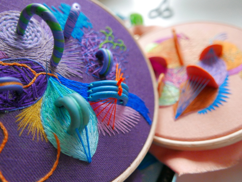 Hand embroidery with polymer clay