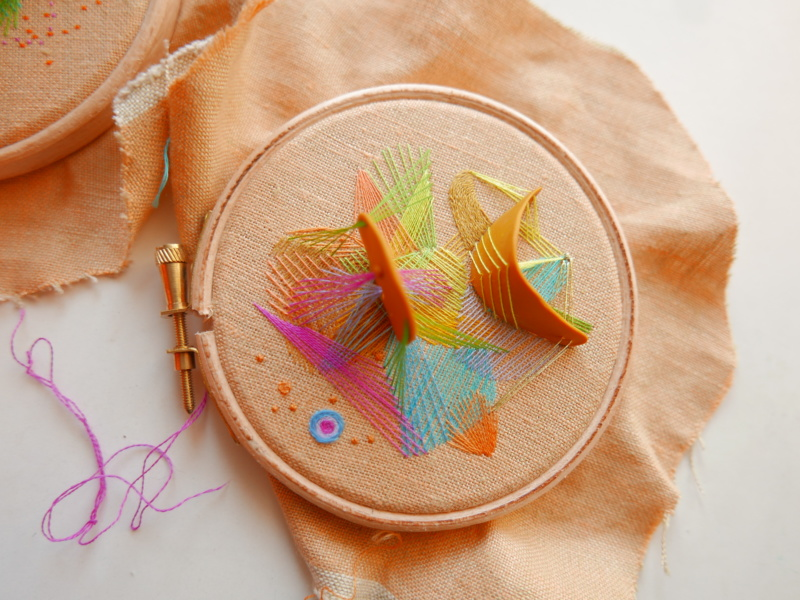 Hand embroidered mixed media hoop