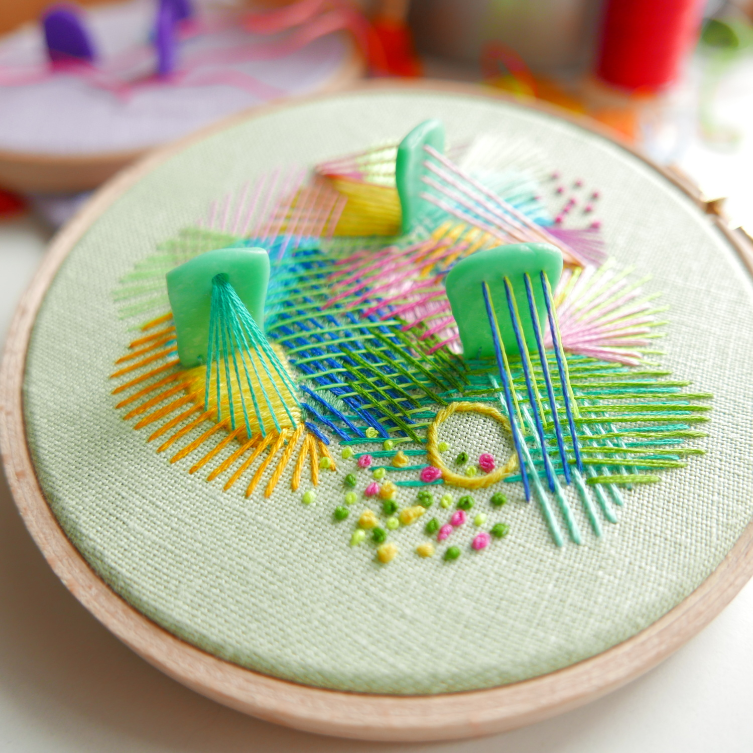 original hand embroidered hoop