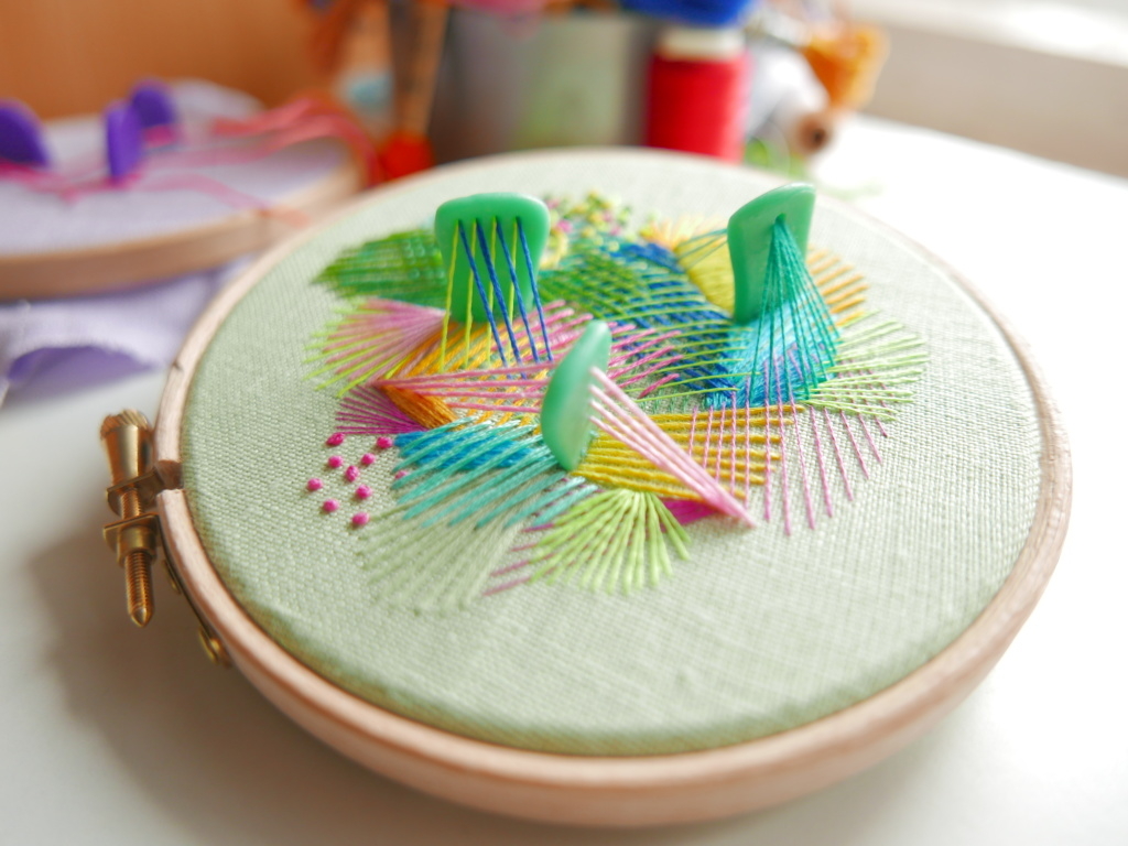Mixed media embroidery on hoop