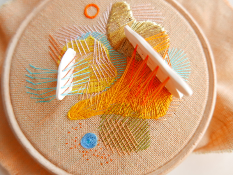 abstract hand embroidered hoop
