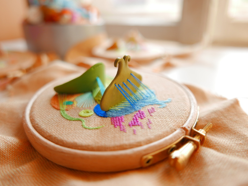 Hand embroidered abstract hoop