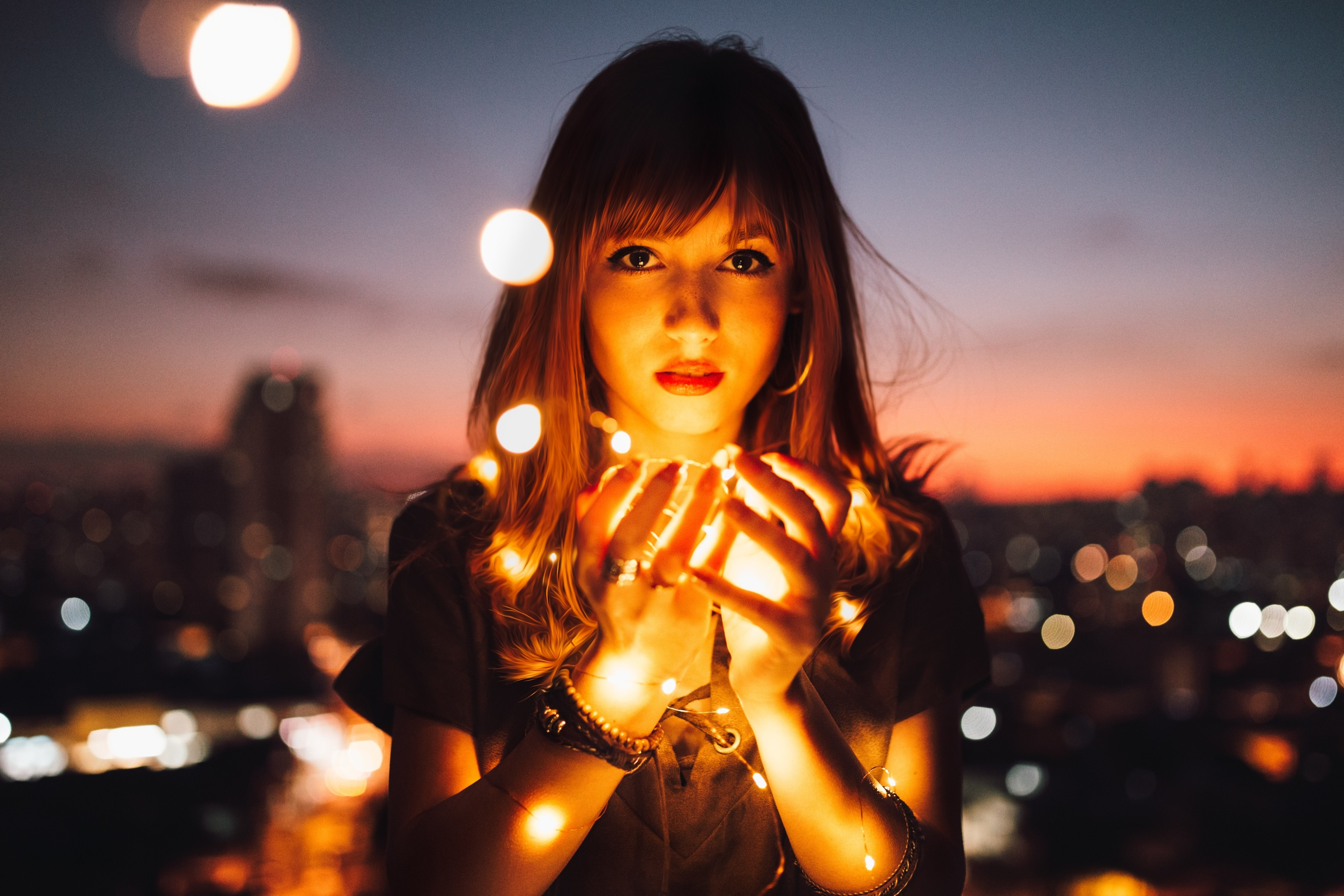 girl with light in the evening